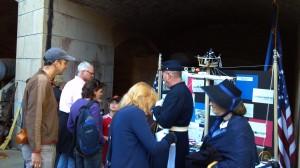 Visitors enjoying the USS Camanche display