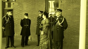 Several re-enactors at Fort Point