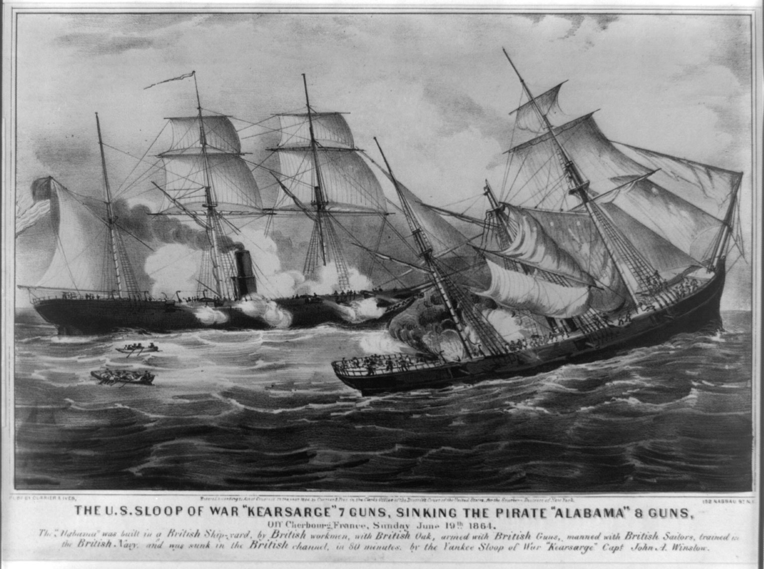 USS Kearsarge sinking the CSS Alabama, 1864 (source: Wikipedia)